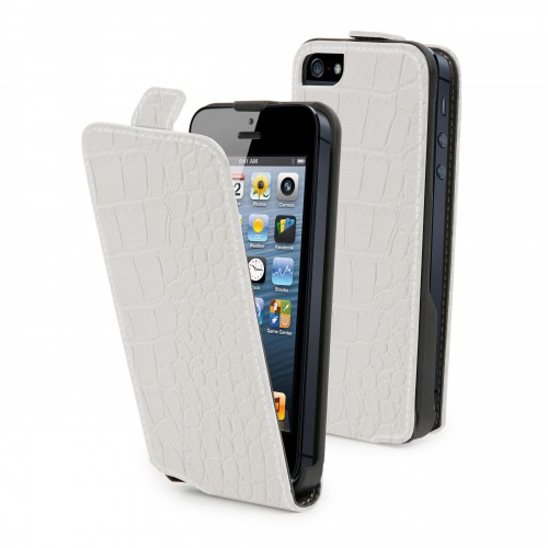 Muvit Etui Clapet Slim Blanc Croco Apple Iphone 5