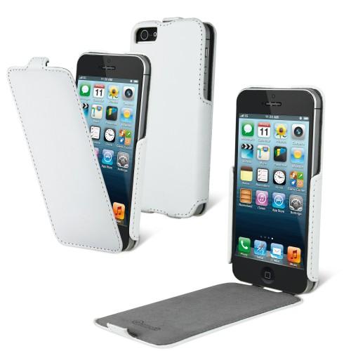 Housse à rabat blanche pour iPhone 5 + film Nouvea