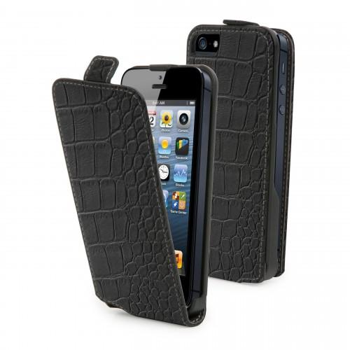 Muvit Etui Clapet Slim Noir Croco Apple Iphone 5 +
