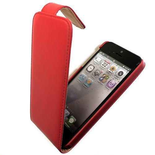 Housse à rabat ROUGE/BEIGE pour Apple iPhone 5 Nou