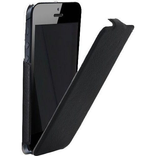 Etui coque noir finition cuir grainé pour iPhone 5