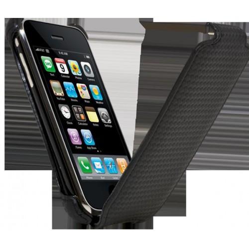 Etui coque noir effet carbone pour iPhone 3G/3GS N