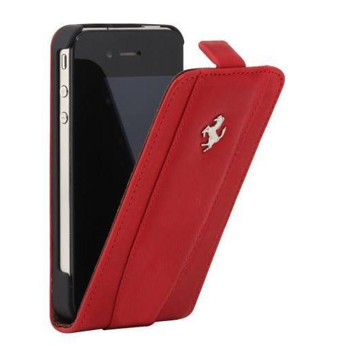 Etui coque Ferrari en cuir rouge pour iPhone 4/4S