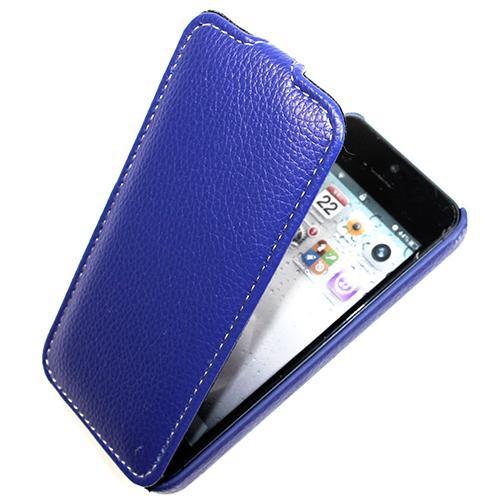 Housse cuir bleu MELKCO version Luxe pour Apple IP