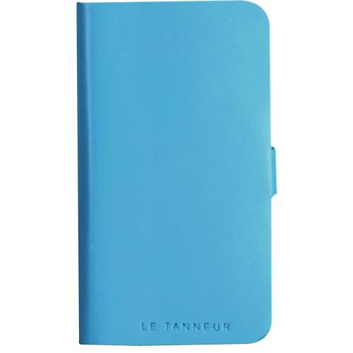 Etui folio en cuir pleine fleur bleu Le Tanneur po