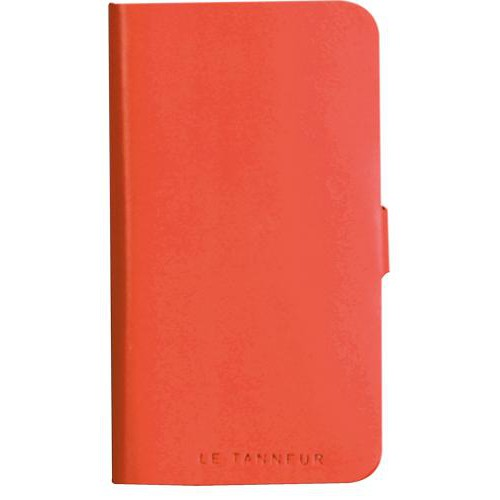 Etui folio en cuir pleine fleur orange Le Tanneur