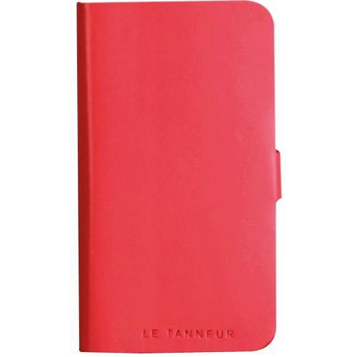 Etui folio en cuir pleine fleur rose corail Le Tan