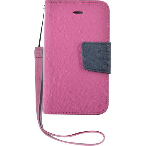 Etui à rabat rose et bleu pour iPhone 4/4S Nouveau