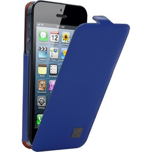 Etui à rabat Kenzo Chik en cuir bleu pour iPhone 5