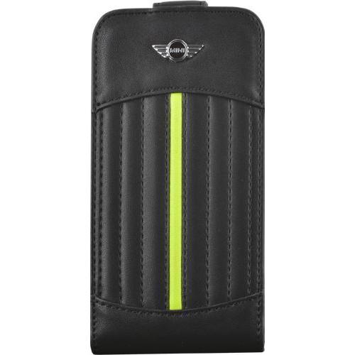 Etui à rabat noir et vert anis Mini pour iPhone 4/