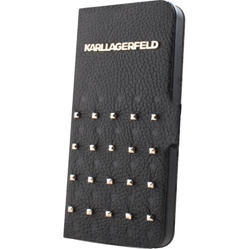 Etui à rabat noir et clouté Karl Lagerfeld pour iP