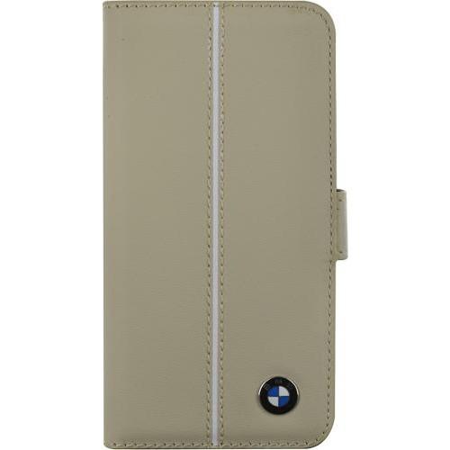 Etui à rabat BMW en cuir beige pour iPhone 5/5S No
