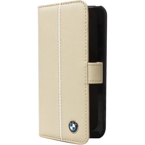 Etui à rabat BMW en cuir beige pour iPhone 4/4S No