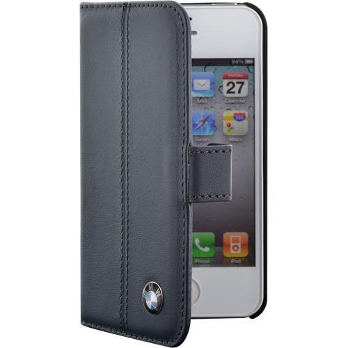 Etui à rabat BMW en cuir bleu pour iPhone 4/4S Nou